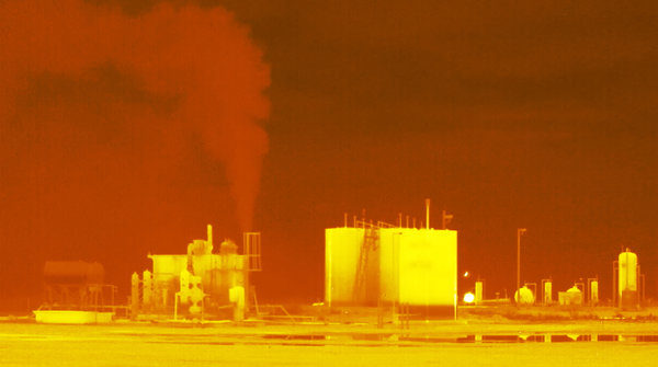 An infrared image last year of an MDC Energy well pad leaking methane (which is invisible to the naked eye). This month, the site has continued to leak gases, government violations show.
