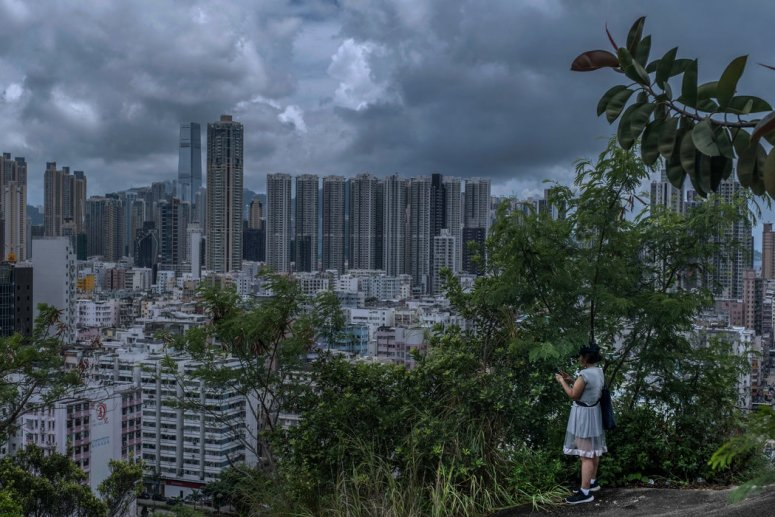 香港石硖尾附近山顶上的景色。