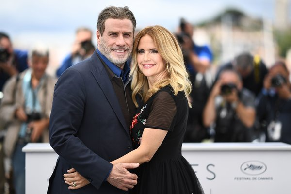 Kelly Preston, right, with her husband, John Travolta, at the Cannes Film Festival in France in 2018.