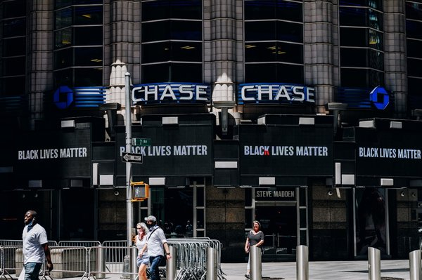 A Black Lives Matter sign displayed at a Chase bank in Times Square in June.