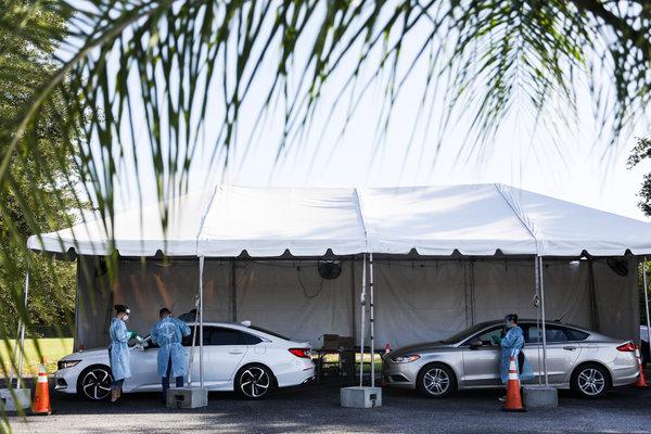 Coronavirus testing in Sun City Center, Fla., on Monday.