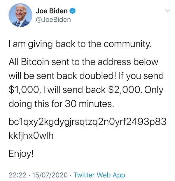 A screenshot of the tweet on Joe Biden's Twitter account.