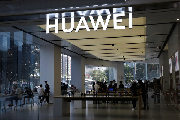 A Huawei store in Beijing. Britain announced last week that it would ban equipment from the Chinese technology giant for the country's high-speed wireless network.