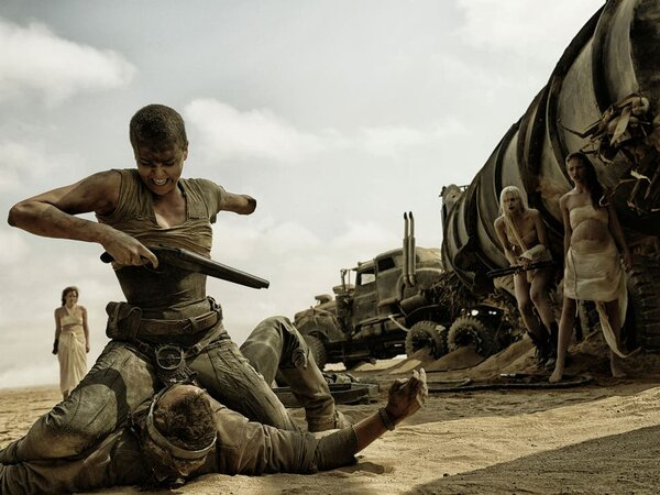 """Theron gets the better of the title character in """"Mad Max: Fury Road."""""""