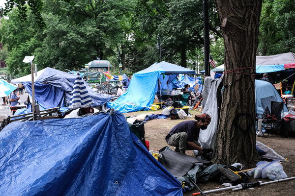 The scene at City Hall Park in early July, where protesters set up an encampment in Manhattan.