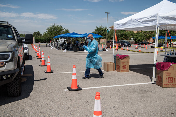 A drive-through coronavirus testing site in El Paso on Tuesday.