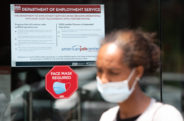 In Washington, D.C., the office for local residents' unemployment claims is mostly working remotely.