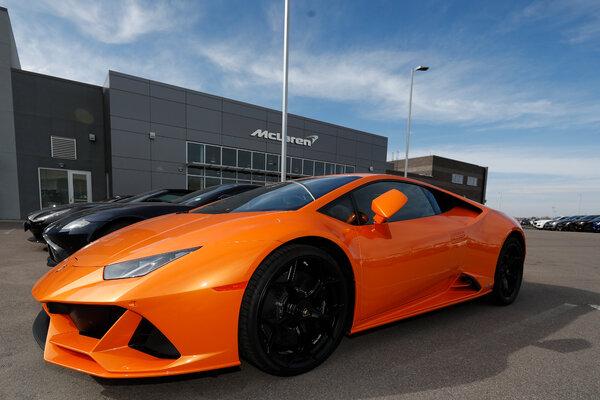 Cars: An unsold 2020 Lamborghini Huracán Evo in March. On his loan applications, David Hines said he operated four businesses and had $4 million in monthly expenses, officials said.