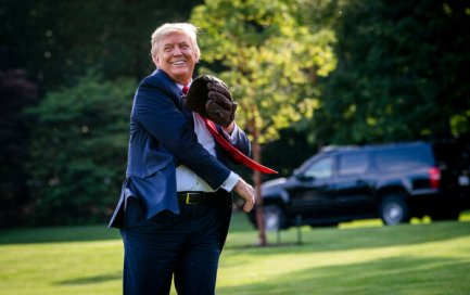 President Trump playing catch with the retired New York Yankees pitcher Mariano Rivera on the South Lawn of the White House last week.