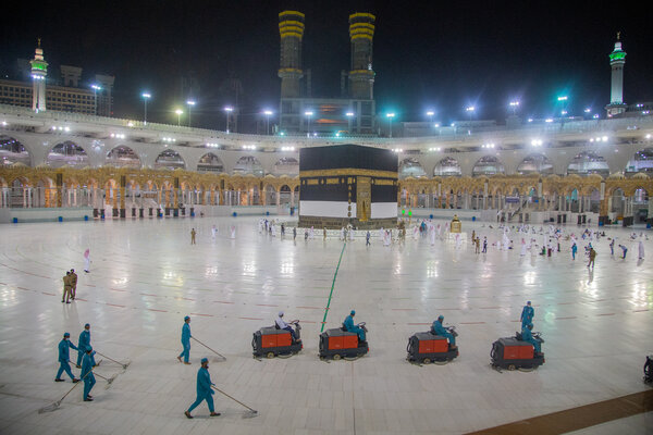 Workers cleaned in front of the Kaaba at the Grand Mosque in Mecca on Monday.