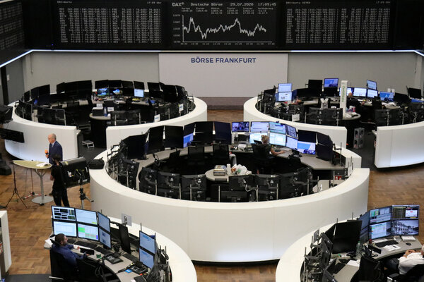 The Frankfurt stock market. About 7 million people in Germany are on government-subsidized paid furloughs, and not all will get their jobs back.