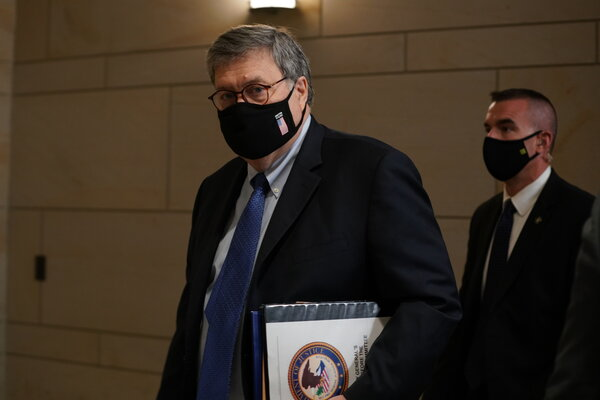 Attorney General William P. Barr has not ruled out dropping the Justice Department's past requirement that it be free to seek execution of the two Islamic State fighters.
