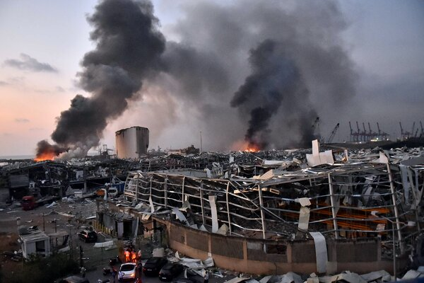 The port in Beirut after two explosions on Tuesday.