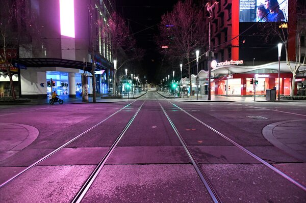 Melbourne's central business district on Sunday night.