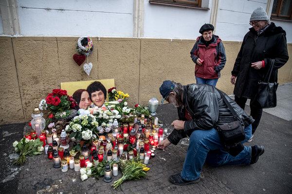 A memorial on the second anniversary of the murder of Jan Kuciak and Martina Kusnirova in February in Bratislava.