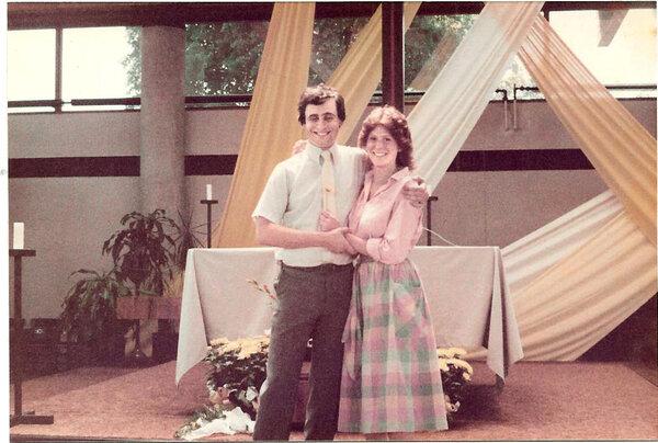 David Haas and Susan Bruhl in 1984 at her high school graduation Baccalaureate mass at St. Thomas Aquinas Catholic Church in St. Paul Park, Minn.