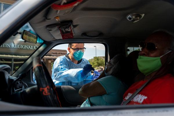 Testing for the coronavirus in Austin, Texas, on Friday.