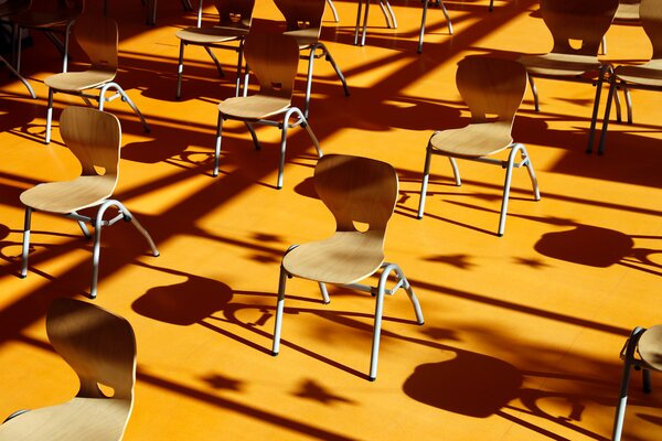 Socially distanced chairs in a classroom in Schwerin, Germany. Scientists found airborne virus at a distance much farther than the recommended six feet.