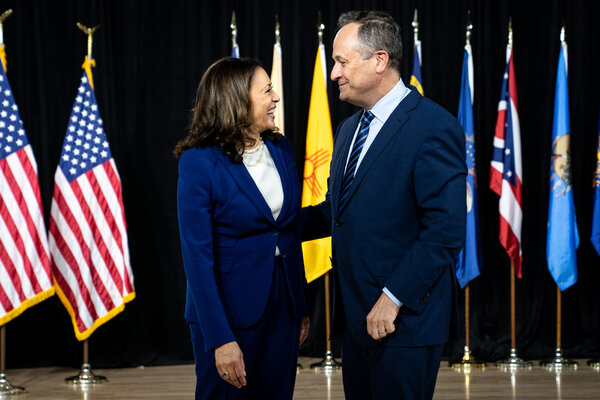 Kamala Harris with her husband, Doug Emhoff, at her first event as part of the Democratic ticket on Wednesday.