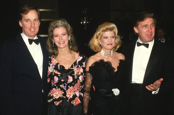 Robert and Donald Trump with their wives at the time, Blaine and Ivana, in the 1990s.