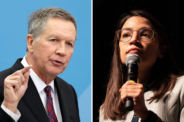 John R. Kasich, a Republican and former governor of Ohio, questioned whether Representative Alexandria Ocasio-Cortez of New York, who is a favorite of the progressive left,should be seen as representing the Democratic Party.