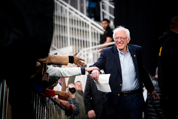 Bernie Sanders at a campaign rally in Springfield, Va., in February.