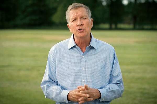 Former Gov. John R. Kasich of Ohio was one of four Republicans who spoke in support of Joseph R. Biden Jr.  on Monday.
