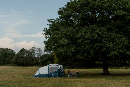 Some real social distancing at the Little Thakeham campsite in Sussex.
