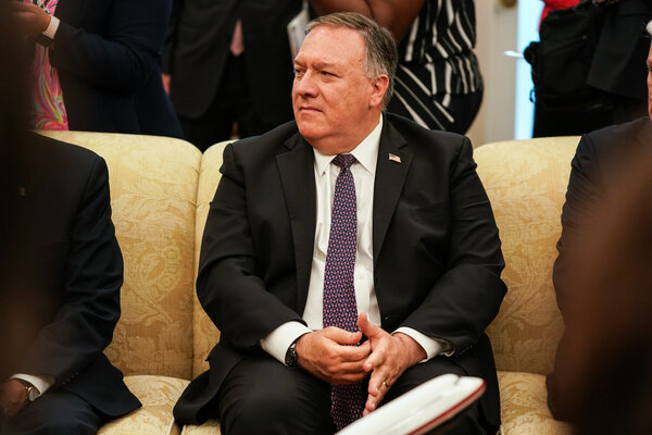 Secretary of State Mike Pompeo at a meeting in the White House on Thursday.