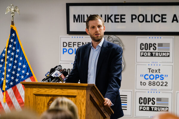 Eric Trump at a Cops for Trump event in Milwaukee last week.