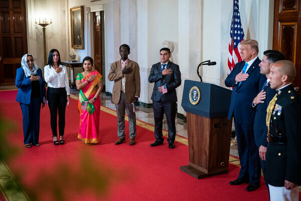 President Trump participating in a naturalization ceremony at the White House on Tuesday evening during the Republican National Convention.