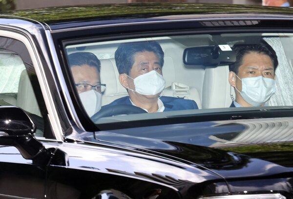 Mr. Abe being driven to Keio University Hospital in Tokyo on Monday for what officials said was a health checkup.