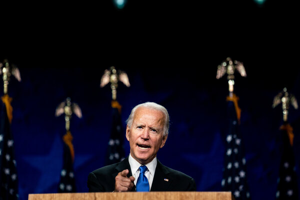 Joe Biden accepted the Democratic nomination for president at the Chase Center in Wilmington, Del.