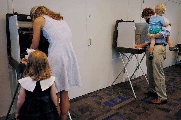 Representative Joseph P. Kennedy III, with his wife, Lauren, and their children, is challenging Senator Edward J. Markey.