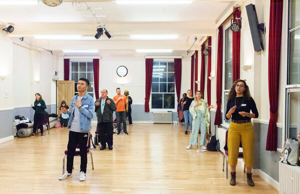 Members of the Citizens of the World Choir rehearsing indoors in London this week.  At In-Person Choir Rehearsals, a Balance Between Joyful and Careful 04refugee choir1 articleLarge
