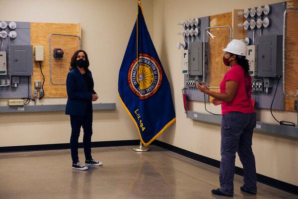 Senator Kamala Harris toured a union training center in Milwaukee on Monday after meeting supporters.