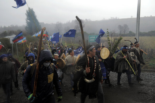 A Mapuche march in response to the conflict between the indigenous community and the Chilean government.