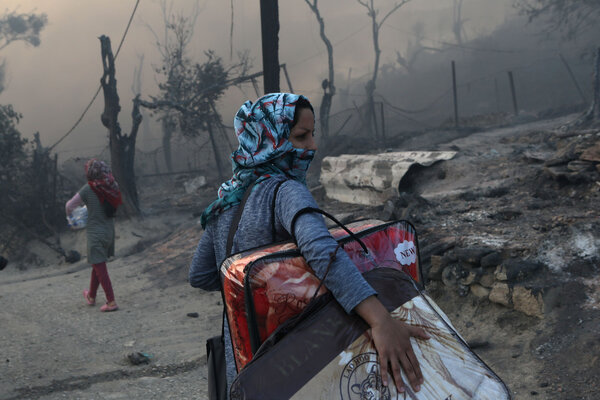 The fire left many of the 12,000 residents of the camp homeless days after they were collectively quarantined because of a coronavirus outbreak there.
