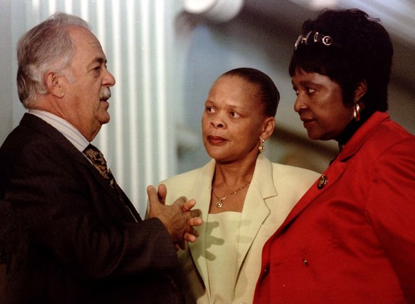 Mr. Bizos with Winnie Madikizela-Mandela, right, and Limpho Hani, the wife of Chris Hani, a leading anti-apartheid activist, who was assassinated in 1993.