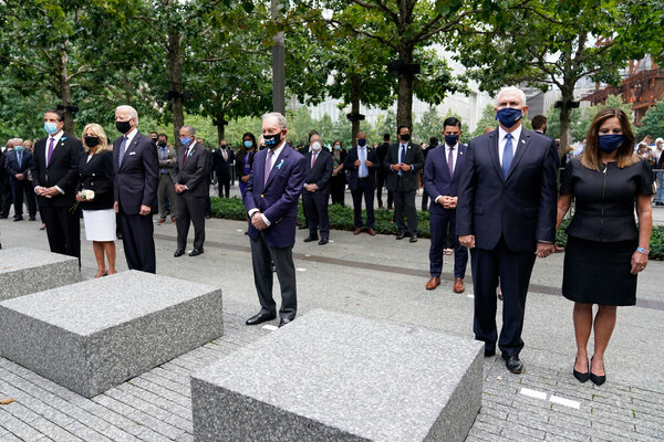From left, Gov. Andrew M. Cuomo of New York, the Bidens, former Mayor Michael R. Bloomberg of New York, and the Pences observed a moment of silence at a 9/11 ceremony in New York.