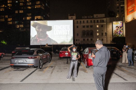"""A drive-in screening of """"Concrete Cowboy"""" in Los Angeles on Thursday, three days before it will be shown at the Toronto International Film Festival."""
