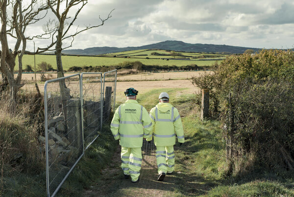 Horizon Nuclear Power workers at the proposed site new plant on Anglesey Island in northern Wales, in 2018.