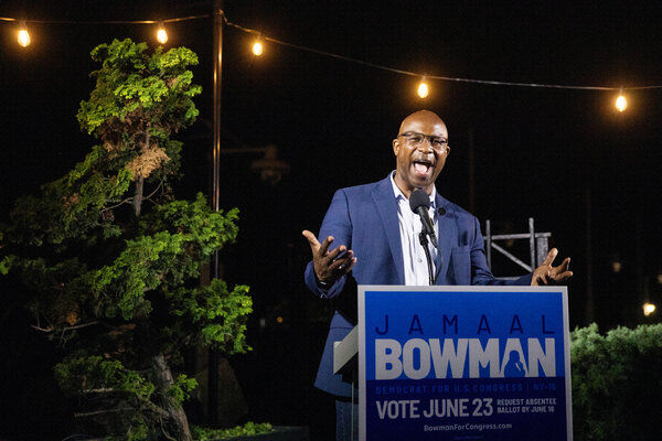 Jamaal Bowman, who ousted the veteran New York congressman Eliot L. Engel, on the night of his Democratic primary in June.