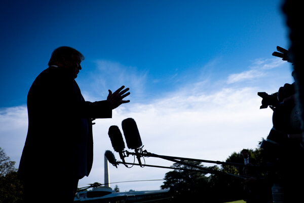 President Trump spoke to the news media about the Supreme Court on the South Lawn of the White House on Saturday.
