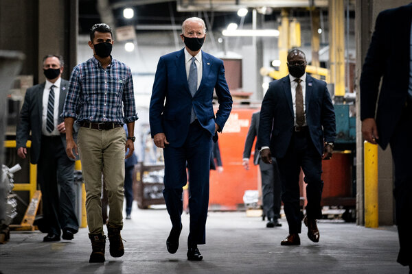 Former Vice President Joseph R. Biden Jr. toured the Wisconsin Aluminum Foundry in Manitowic, Wis., on Monday. He declined to answer a question about whether he'd support adding seats to the Supreme Court.