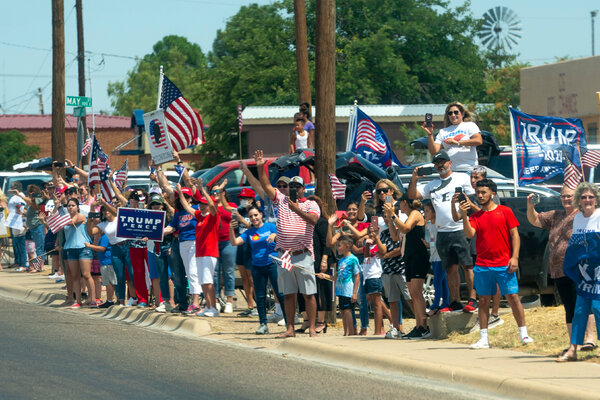 Supporters of President Trump during his visit to Midland, Texas, in July.