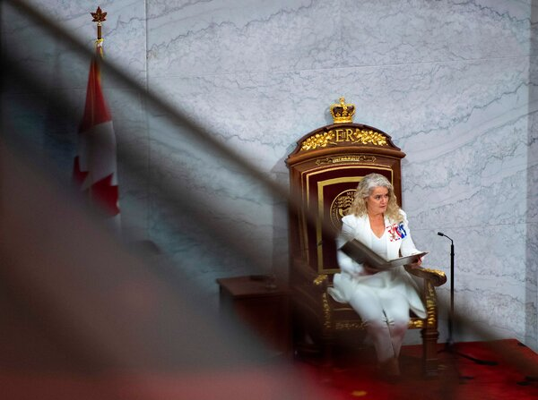 Julie Payette, Canada's governor general, delivering the throne speech.
