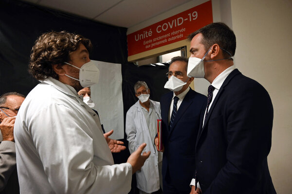 France's Health Minister Olivier Veran, right, visiting La Timone public hospital in Marseille last week.