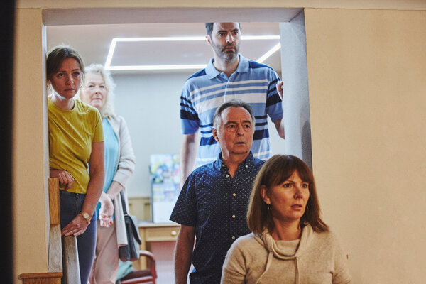 In a scene from the show, Dawn Sturgess' family watch a televised news report with details of the poisonings.