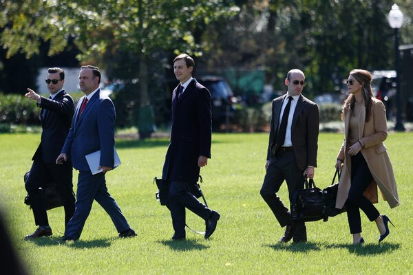 Hope Hicks before boarding Marine One on Wednesday with, from right, Stephen Miller, Jared Kushner, Dan Scavino and Nick Luna.